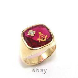 10K Yellow Gold Men's Pink Ruby Diamond Mason Masonic Ring 10.5