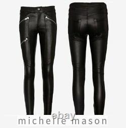 $1150 Mason By Michelle Mason Genuine Lamb Leather Black Moto Silver Zipper Sz 2