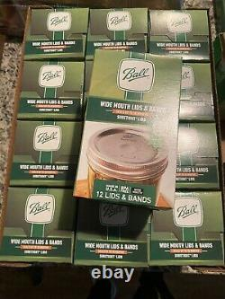 12 Boxes BALL Wide Mouth Lids & Bands Mason Jar Canning Lot 144 Ships Fast