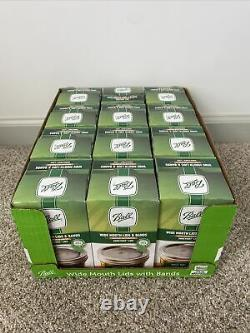 12 Boxes BALL Wide Mouth Lids and Bands Mason Jar Canning Lot 144 Total