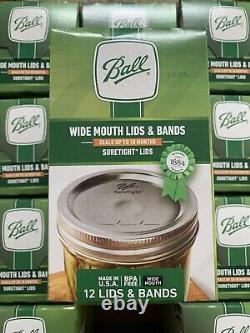 12 Boxes BALL Wide Mouth Lids and Bands Mason Jar Canning Lot (144 Total)