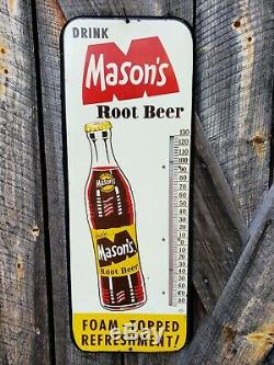 1950s Mason's Root Beer Thermometer. 26inx10in. Works! Painted Metal