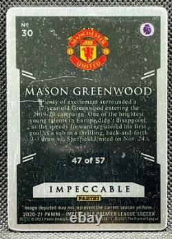 2020-21 Panini Impeccable EPL =Mason Greenwood= Stainless Stars #'d /57 Man Utd