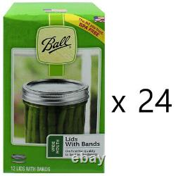 24 Boxes BALL Wide Mouth Lids and Bands Mason Jar Canning Lot 288 Total