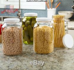 2Pack 1 Gallon Wide Mouth Glass Mason Jar With Plastic Lid Ferment Kombucha Kimchi