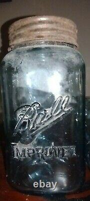 2 Vintage Square Ball Improved Mason Canning jars withmetal bands and inserts