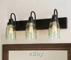 3-Arm Mason Jar Vanity Lamp Light. Metal and Glass Mason Jar Vanity Light