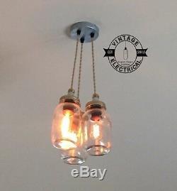 3 X Hanging Kilner Mason Jam Jar Lights Cluster Ceiling Cafe E27 Table Lamps