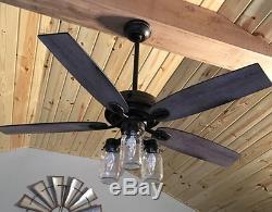 52 Bronze Ceiling Fan Farmhouse Driftwood Rustic Cabin Mason Jar Lantern Light