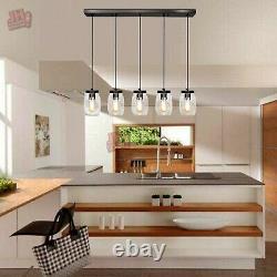 5 Light Glass Mason Jar Light Kitchen Island Pendant Light Ceiling Light Fixture