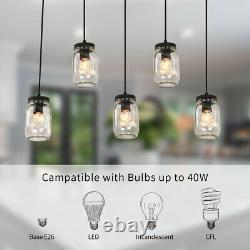 5 Lights Linear Chandelier Glass Mason Jar Pendant Hanging Lamp Lighting Fixture