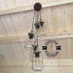 5 X Hanging Kilner Mason Jar Lights Ceiling Dinning Table Vintage Lamps E27