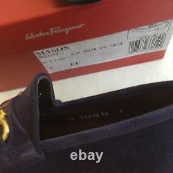 $650 Salvatore Ferragamo US 7 EE MASON Suede Blue Loafers Gold Gancini Hardware