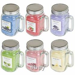 6 x Large Scented Candles in Glass Mason Jars Lid Home Gift Set Fruit Containers