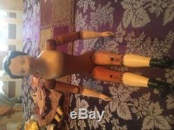 ANTIQUE Wood Doll BIG springfield OR Joel ellis OR mason taylor METAL HANDS FEET