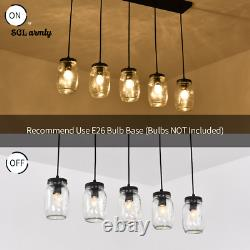Adjustable Mason Jar Glass Pendant Kitchen Island Lighting Hanging Chandelier US