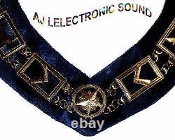 Aj New Golden Masonic Regalia Master Mason Blue Lodge, Golden Metal Chain Collar