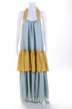 Anna Mason Womens Tiered Maxi Dress Gold Green Size 12