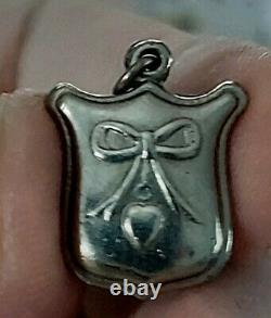 Antique Mason Related Mini Compass Pendant Silver Metal Heart Love Charm