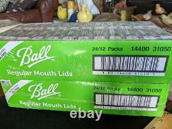 BALL REGULAR MOUTH MASON CANNING JAR LIDS 2 full cases, 48 packs of 12 =576 lids
