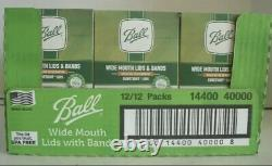 BALL Wide Mouth Canning Mason Jar Lids + Bands Full Case, 12 Boxes of 12 (144)