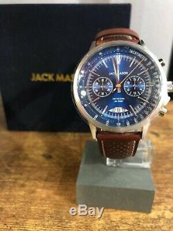 Bnib Jack Mason Dark Brown & Blue Racing Chrono Jm-r402-001