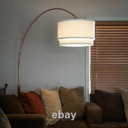 Brightech Mason Arc Floor Lamp with Hanging Drum Shade & LED Light Bulb, Bronze