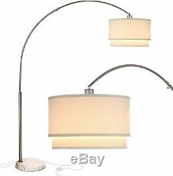 Brightech Mason Arc Floor Lamp with Unique Hanging Drum Shade, Nickel