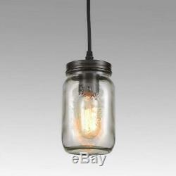 EUL Rustic Mason Jar Semi Flush Mount Ceiling Light 5-Light
