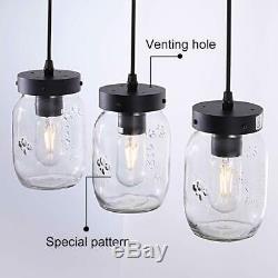 Farmhouse Chandelier Mason Jar Hanging Pendant Light Ceiling Lamp Loft Fixture