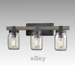 Farmhouse Mason Jar 3-Light Vanity Light Glass Bathroom Wall Sconces Wood Finish