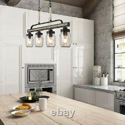 Farmhouse Mason Jar Chandelier Rustic Faux Wood Kitchen Island Lighting Fixture