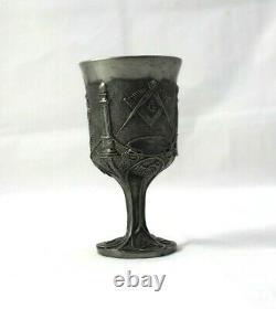 Free Masons MASONIC LODGE Australia PEWTER Embossed Ceremonial Cup Vintage Metal
