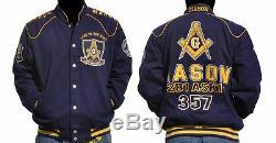 Freemason Jacket Masonic Blue Gold Long sleeve Jacket Worldwide Brotherhood
