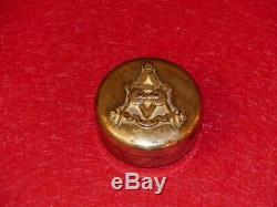 Freemason Masonic Masonry Box round Silver Metal (French) Lodge UNION of