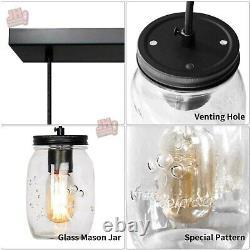 Glass Mason Jar Light Fixture Kitchen Island Pendant Light Ceiling Light Fixture