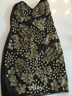 Holt Miami Dress Jessi Black Gold Dress Size Medium $379