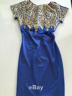 Holt Miami Dress Kora Blue In Gold NWT Size Small $379