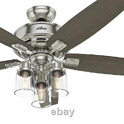 Hunter 52 Rustic Brushed Nickel LED Mason Jar Glass Light Remote Ceiling Fan