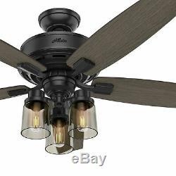 Hunter 52 Rustic Matte Black LED Mason Jar Glass Light Remote Ceiling Fan