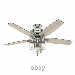 Hunter 52 Rustic Style Brushed Nickel Mason Jar 3 Light LED Ceiling Fan