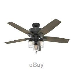 Hunter 52 Rustic Style Natural Iron Mason Jar 3 Light LED Ceiling Fan