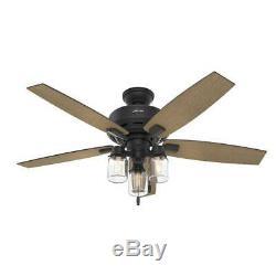 Hunter 52 Rustic Style Natural Iron Mason Jar 3 Light LED Ceiling Fan