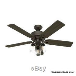 Hunter 52 Rustic Style Onyx Bengal Mason Jar 3 Light LED Remote Ceiling Fan