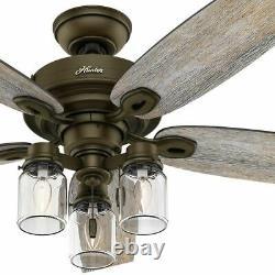 Hunter 52 Rustic Style Regal Bronze Mason Jar 3 Light LED Remote Ceiling Fan
