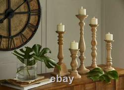 IMAX Mason Natural Wash Wood Vintage Candleholders Set Of 5