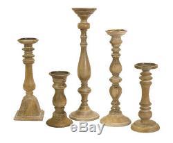 Imax 5530-5 Set of 5 Mason Natural Wash Wood Candleholders