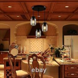 Industrial Flush Mount Ceiling Light Pendant Farmhouse Kitchen Glass Mason Jar 3