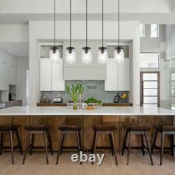 Industrial Mason Jar Glass Chandelier Pendant Light Fixture Kitchen Island Lamp