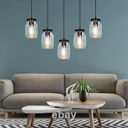 JHLBYL Glass Mason Jar Light Fixture Farmhouse Pendant Lighting, 5-Light Fixture